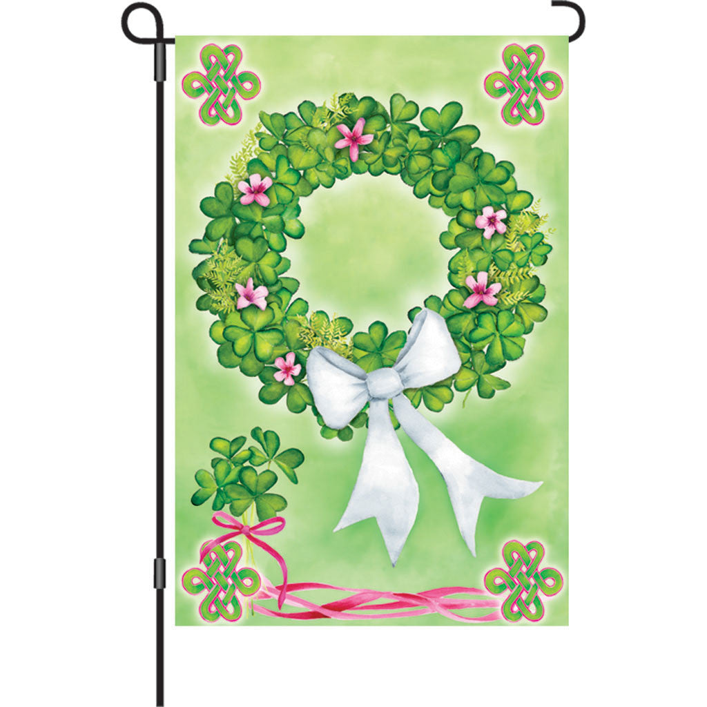 12 in. St. Patty's Day Garden Flag - Shamrock Wreath