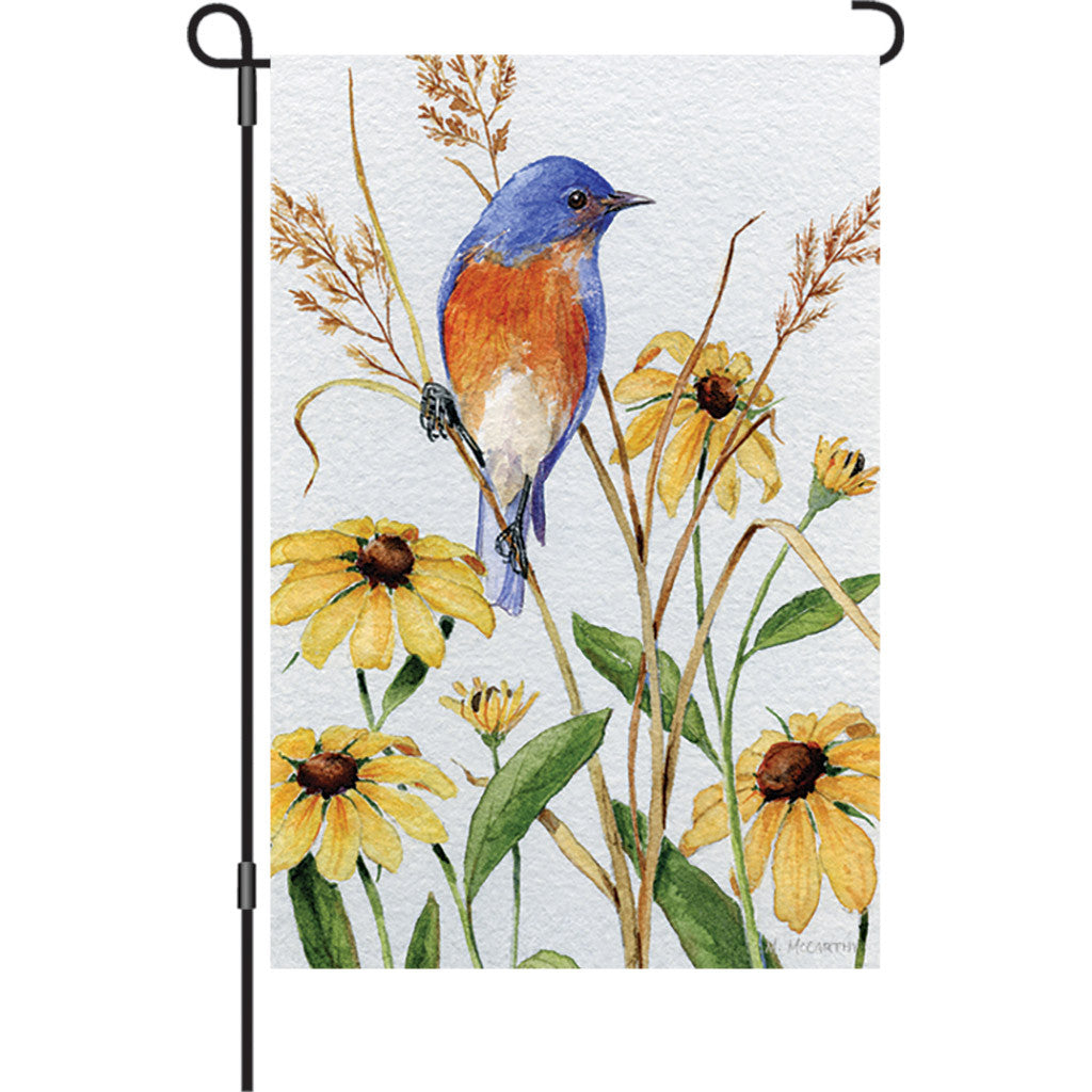 12 in. Springtime Bird Garden Flag - Bluebird and Susie's