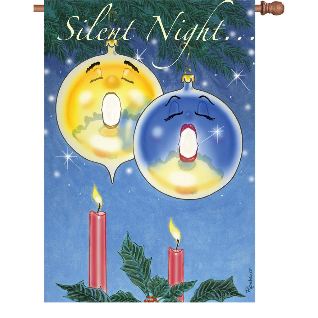 28 in. Winter Holiday House Flag - Silent Night