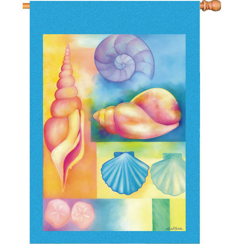28 in. Costal Beach House Flag - Seashells
