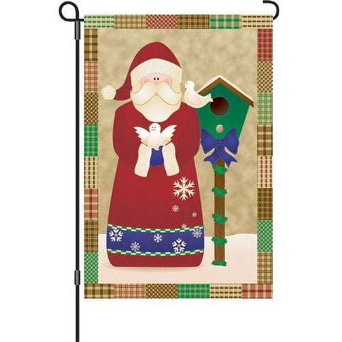 12 in. Christmas Garden Flag - Santa's Doves
