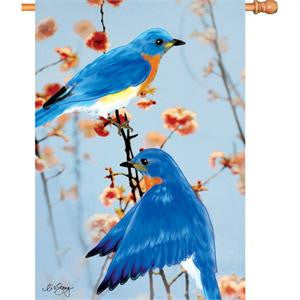 28 in. Bird House Flag - Bluebirds in the Spring