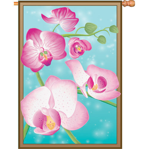 28 in. Orchid Flower House Flag - Butterfly Orchids