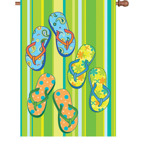 28 in. Coastal Beach House Flag - Summer Flip Flops