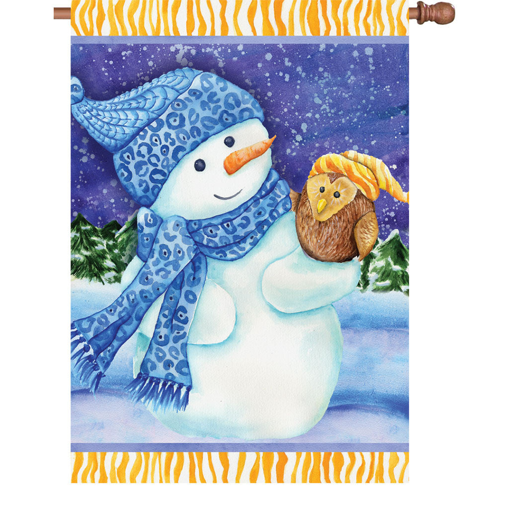 28 in. Christmas House Flag - Snowman and Owl