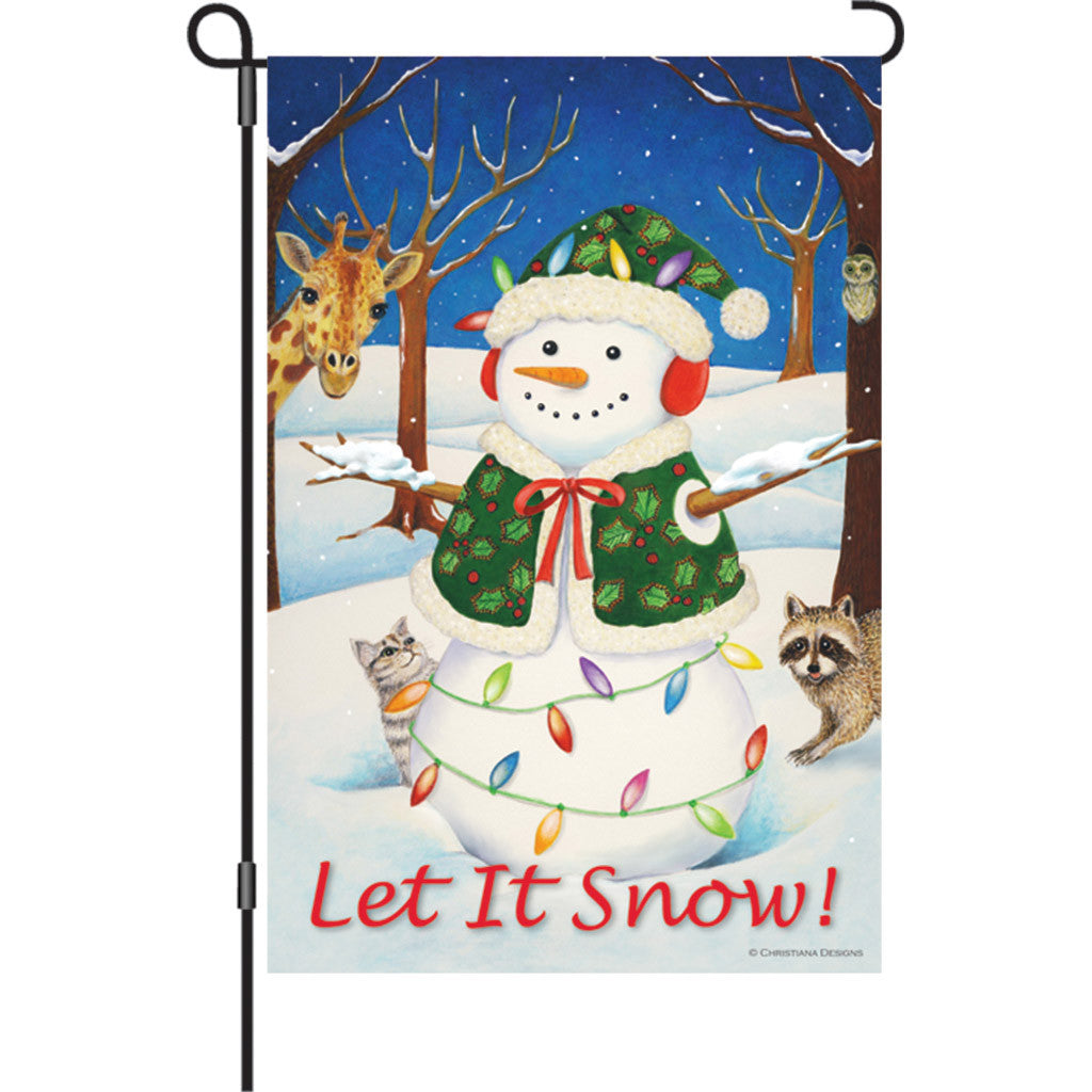 12 in. Winter Holiday Garden Flag - Hey Here's Snow!