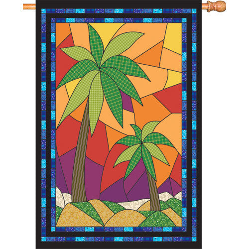 28 in. Tropical Patchwork House Flag - Maui Palm