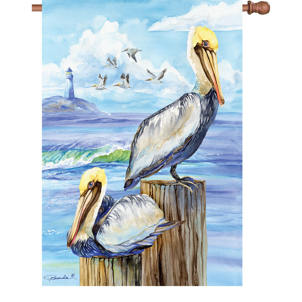 28 in. Water Bird House Flag - Pelicans