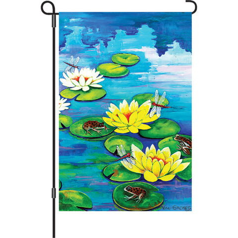 12 in. Lilly Pad Pond Garden Flag - Frisky Frogs