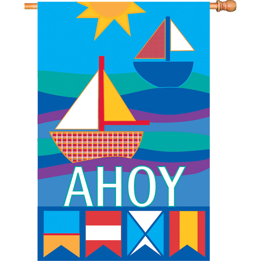 28 in. Patchwork Sailboat House Flag - Ahoy