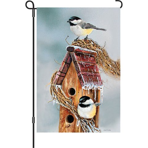 12 in. Christmas Snow Bird Garden Flag - Early Bird Chickadees