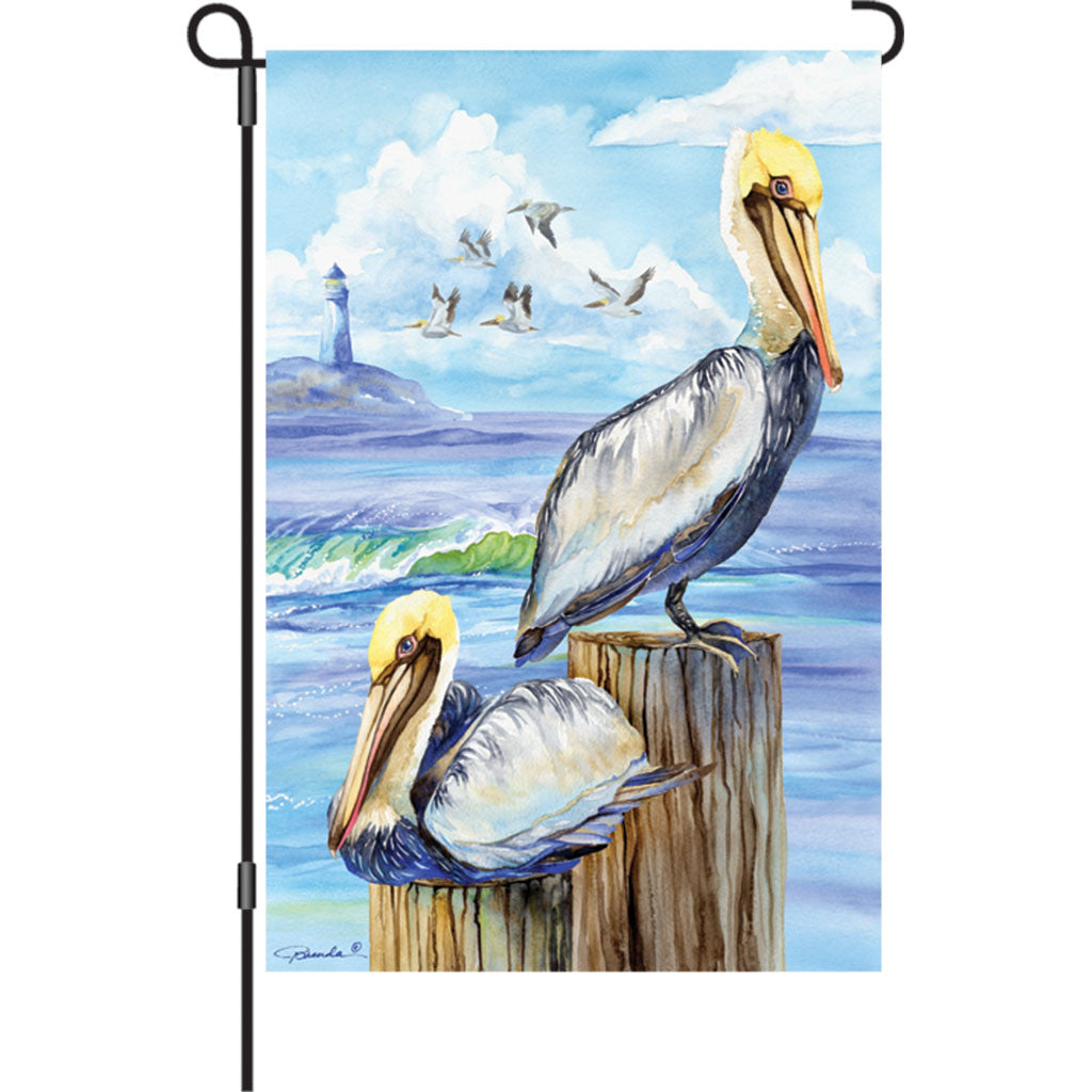 12 in. Costal Bird Garden Flag - Pelicans
