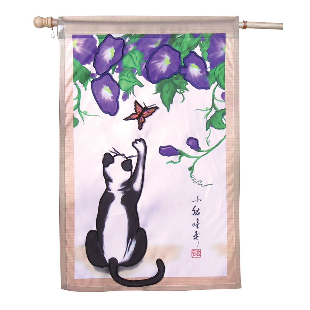 28 in. Asian Cat House Flag - Temptation