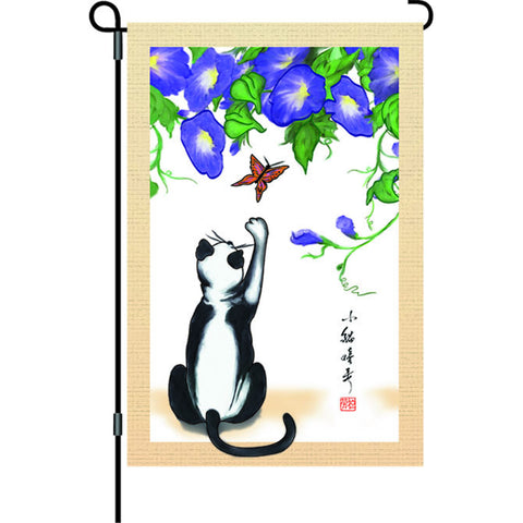 12 in. Asian Cat Garden Flag - Temptation
