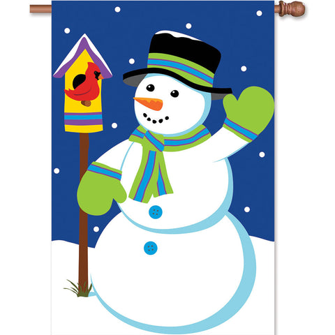Double-Sided House Christmas Applique Flag - Snowman
