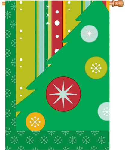 28 in. Christmas House Flag - Retro Christmas