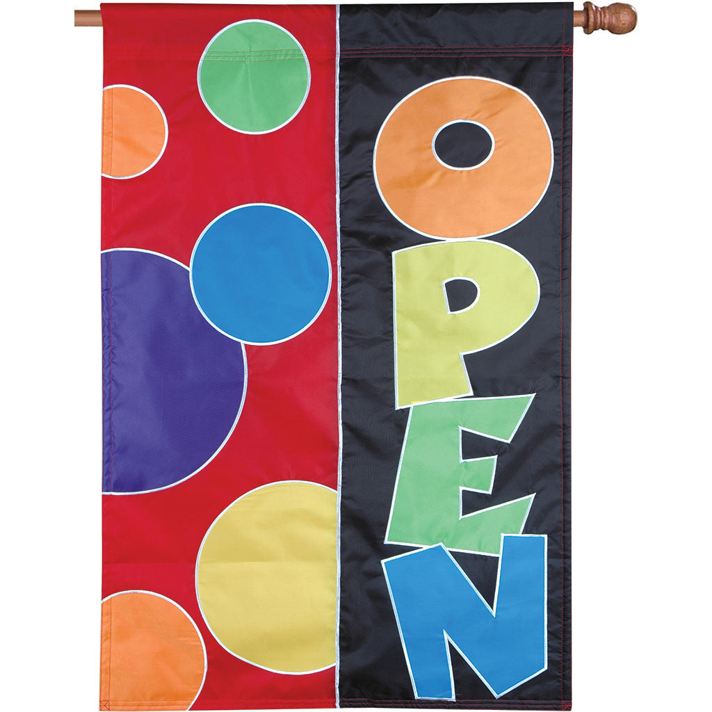 Double-Sided  OPEN Applique Flag - Rainbow Design
