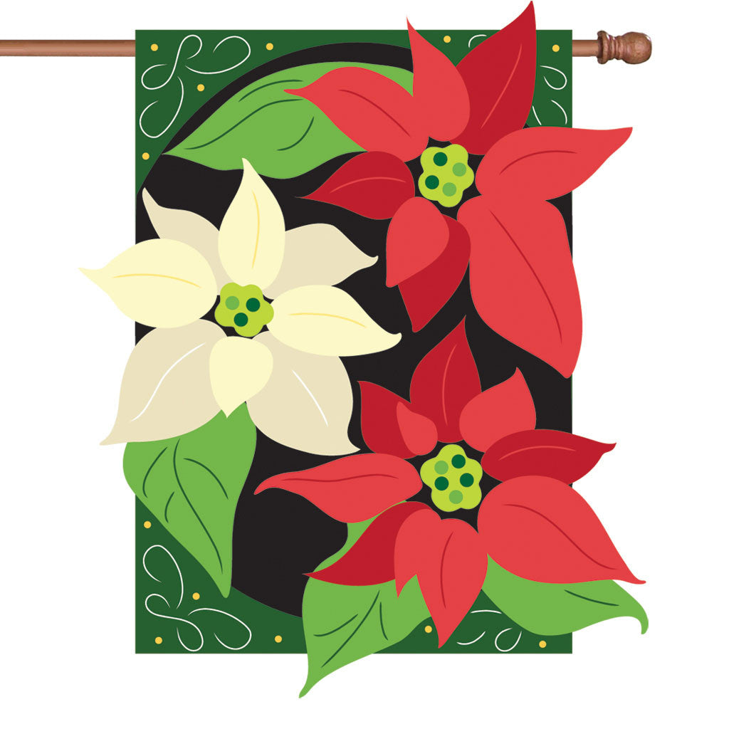 36 in. Christmas Applique Flag - Graceful Poinsettia