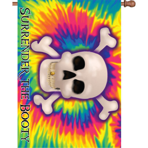 28 in. Tie Dye Pirate House Flag - Surrender the Booty