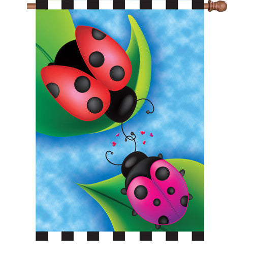 28 in. Valentine's Day Ladybugs House Flag - Sweet Rendezvous
