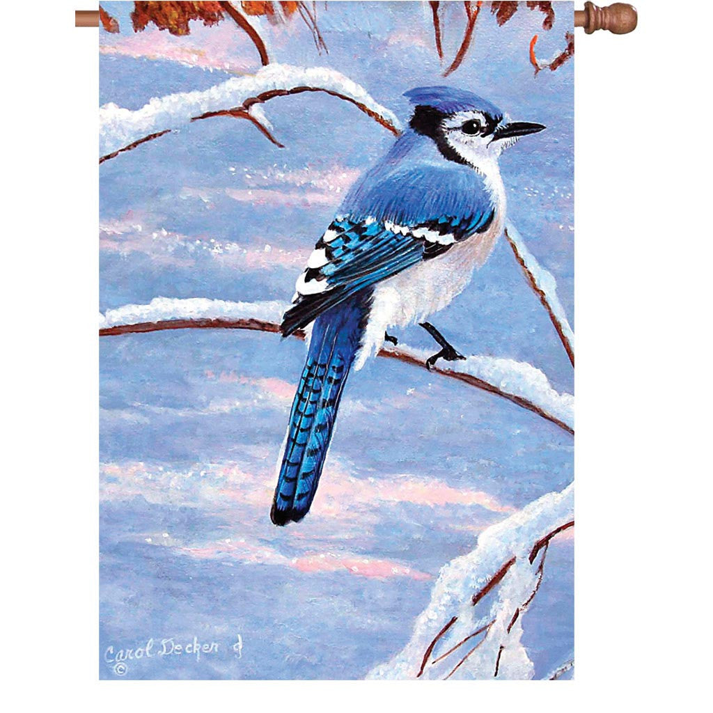 28 in. Winter Snow Bird House Flag - Winter Bluejay