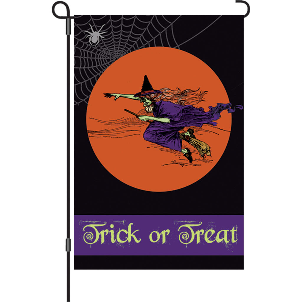 12 in. Halloween Garden Flag - Flying Witch
