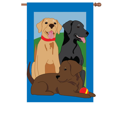 36 in. Labrador Retriever Dogs Applique Flag - Our Faithful Friends