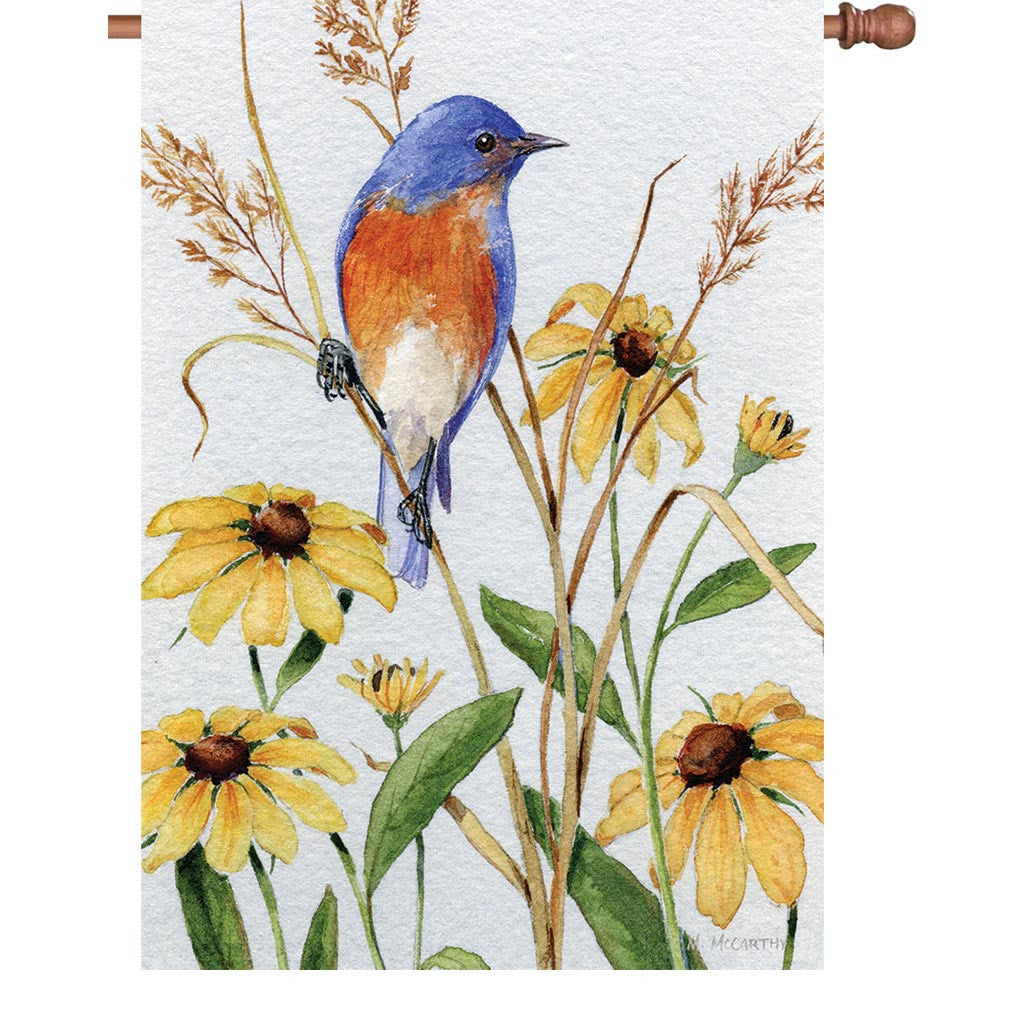28 in. Springtime Bird House Flag - Bluebird and Susie's