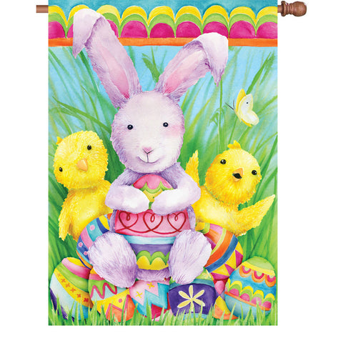 28 in. Easter House Flag - Bunny and Friends