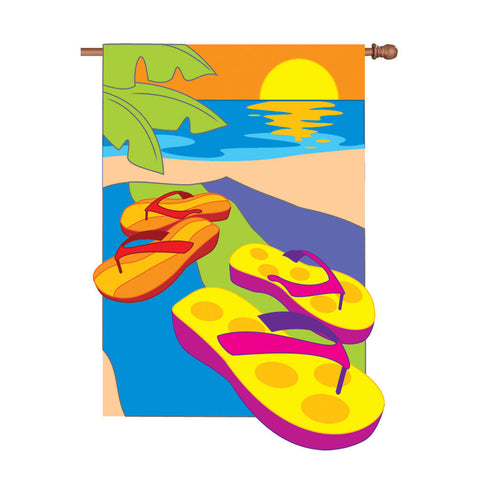36 in. Beach Applique Flag - Flip Flops in the Sand