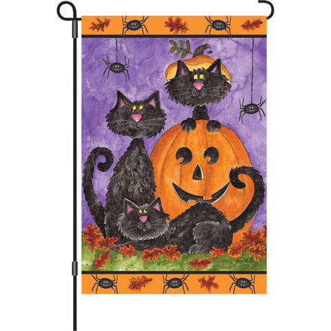 12 in. Halloween Garden Flag - Three Black Cats