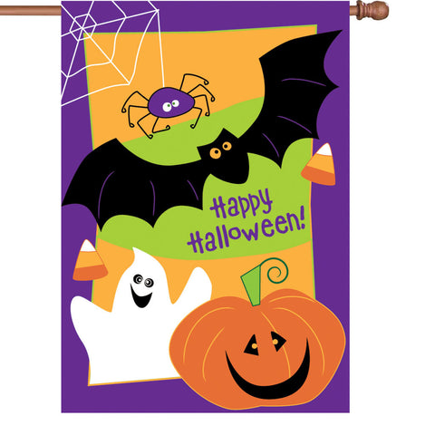 36 in. Halloween Applique Flag - Happy Halloween