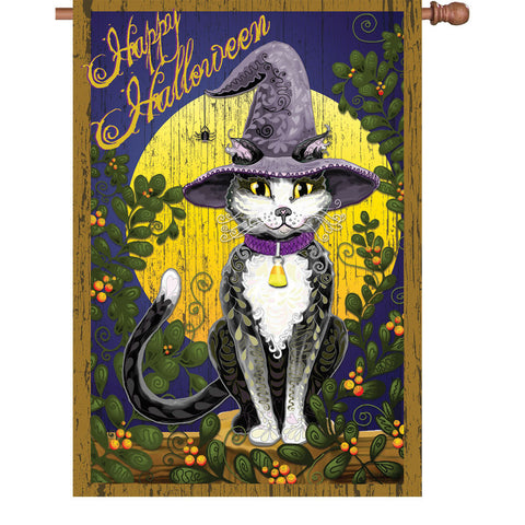 28 in. Halloween House Flag - Candy Corn Cat