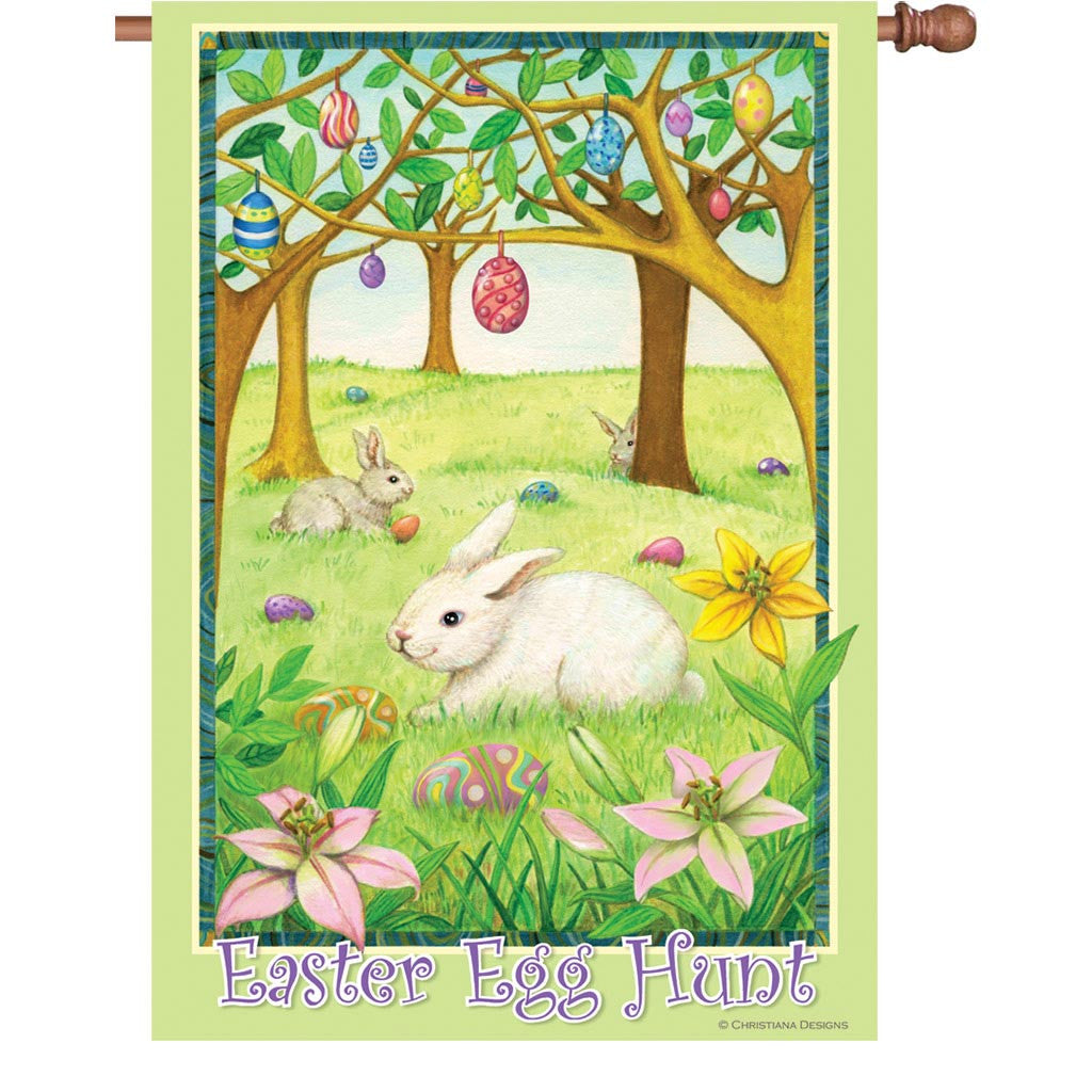 28 in. Easter House Flag - Easter Egg Hunt