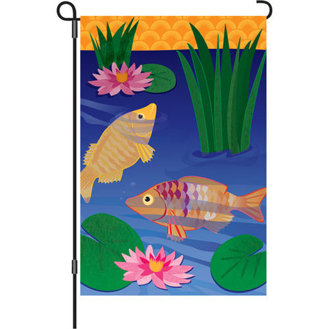 12 in. Koi Garden Flag - In Golden Pond