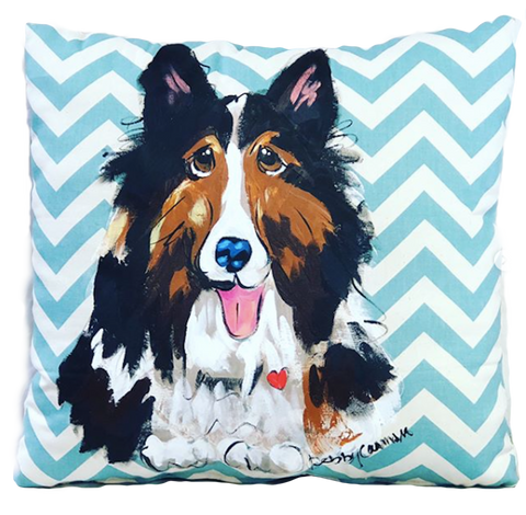 Collie Dog Pillow Hand Painted on Chevron Stripe Pattern Cotton Canvas Square Stuffed Pillow by Debby Carman
