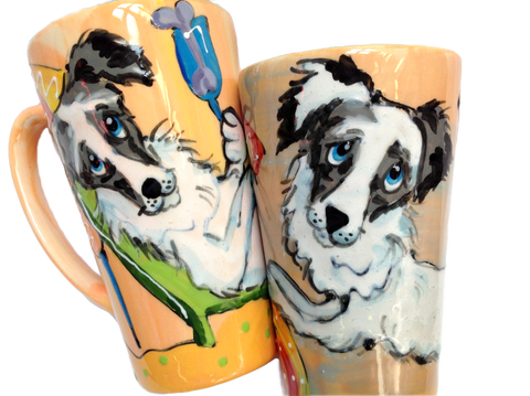 Set of 2 Australian Shepherd Mugs by Debby Carman