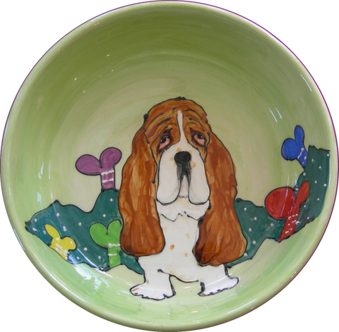 BASSETT HOUND BOWL GREEN