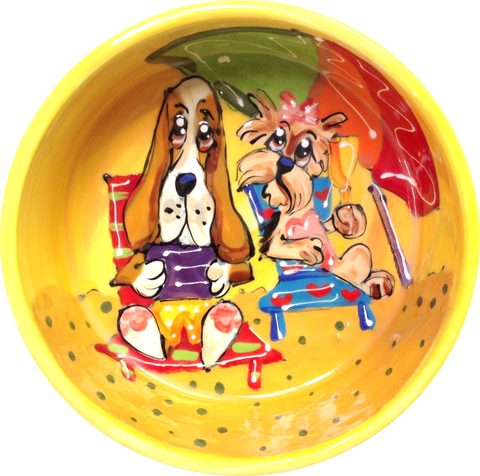 yorkie / dog  art / basset hound art / dog bowl / whimsical / large dog bowl / small dog bowl / ceramic / pottery / faux paw petique / faux Paw Artique / Debby Carman / pet portrait / dog dishes / sturdy dog bowl / custom dog bowl / personalized pet bowls / water dish / pet supplies / unique pet gift / what is a good dog bowl / best dog bowls / dog art / funny dog / pet ceramics