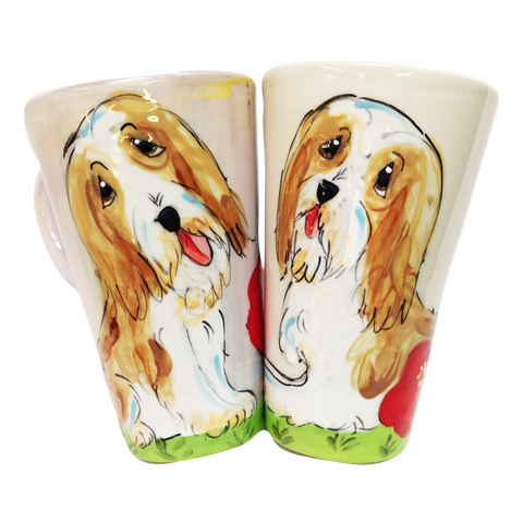 image of bearded collie hand painted on tall latte ceramic dog mug by faux paw productions artist debby carman