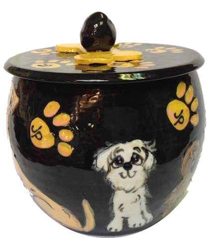 WHITE BICHON SMALL DOG ON TRADITIONAL ROUND TREAT JAR WITH BLACK BACKGROUND AND YELLOW PAW PRINTS HANDPAINTED DOG PORTRAIT AND NAME ON JAR