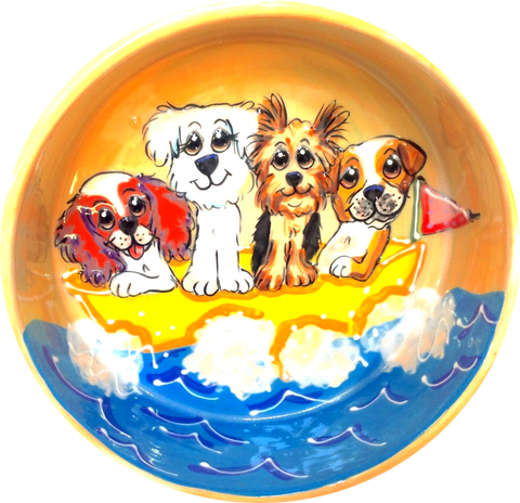 ceramic dog bowl pottery with hand painted whimsical pet portrayal of cavalier a bichon a yorkie a beagle on a boat smiling ready to be personalized and customized BY Debby Carman Faux Paw Productions Petique Artique