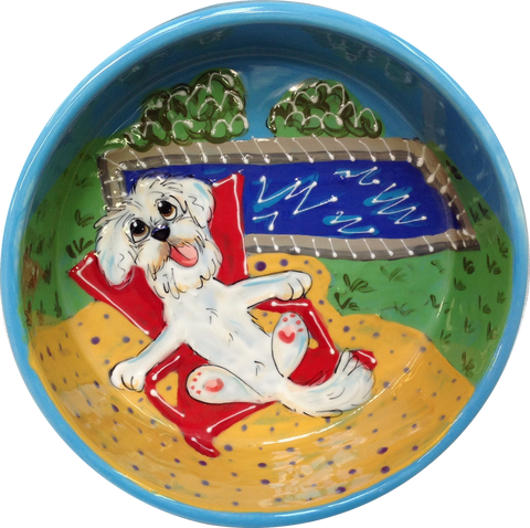 Hand Painted Ceramic Dog Bowl