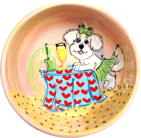 Champagne Dog / BICHON GIRL DOG BOWL CERAMIC / NO TIP / SIZE SMALL FOR FOOD OR WATER BY Debby Carman /  FAUX PAW PETIQUE  / Maltese art / bichon art / basset hound art / dog bowl / whimsical / large dog bowl / small dog bowl / ceramic / pottery / faux paw petique / faux Paw Artique / Debby Carman / pet portrait / dog dishes / sturdy dog bowl / custom dog bowl / personalized pet bowls / water dish / pet supplies / unique pet gift / what is a good dog bowl / best dog bowls / dog art / funny dog / pet ceramics