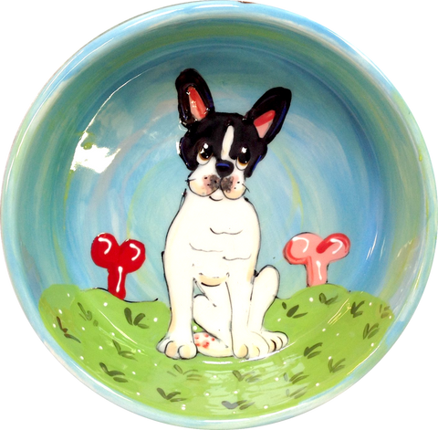 Boston Terrier GIFT PERSONALIZED BLUE DOG BOWL CERAMIC
