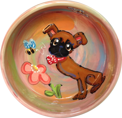 IMAGE OF BRUSSELS GRIFFON IN FLOWER GARDEN HAND PAINTED ON CERAMIC DOG BOWL POTTERY BY FAUX PAW PRODUCTIONS ARTIST Debby Carman