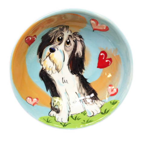 Bearded Collie Hand Painted Ceramic Bowl by Debby Carman