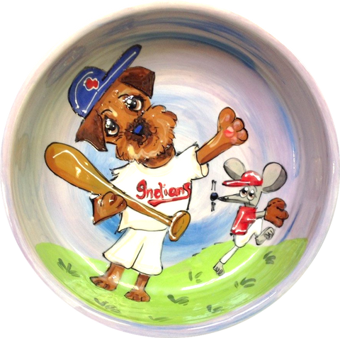 Sports Themed Pet Accessories / Border Terrier Painting / Baseball Dog / Ceramic / Debby Carman
