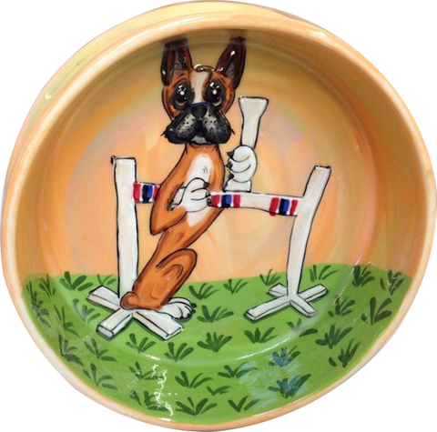 DOG SHOW BOXER WINNER BOWL TROPHY