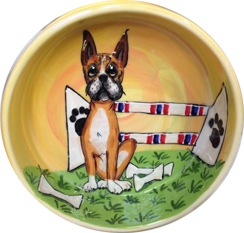 champion boxer dog agility dog show trophy dog bowl custom hand painted by Debby Carman